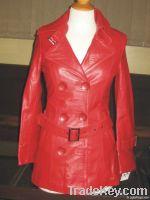 여자의 가죽 재킷 &a...