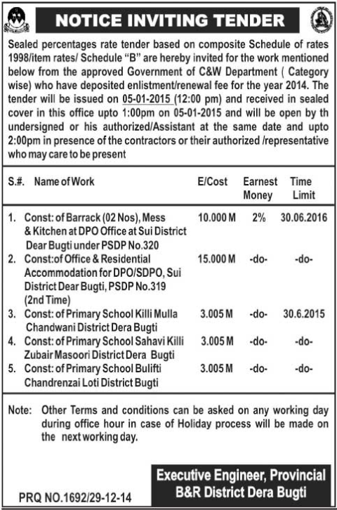 Tender Notice - Executive Engineer Provincial B&R District Dera Bugti