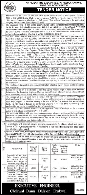 Chakwal Dam Division, Chakwal - Tender Notice For Construction Work