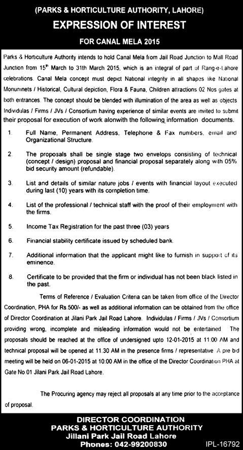 Parks and Horticulture Authority Lahore - Expression of Interest