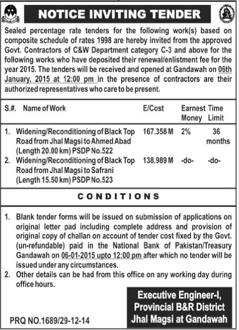 Tender Notice - Executive Engineer Provincial B&R District Jhal Magsi