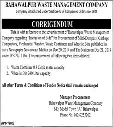 Bahawalpur Waste Management Company, Bahawalpur - Corrigendum Notice