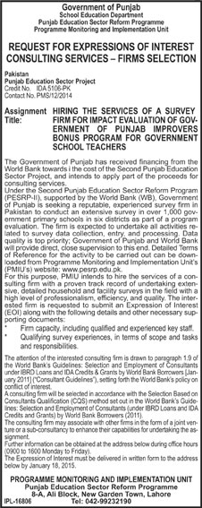 School Education Department, Lahore - Government of Punjab - Request For Expression of Interest