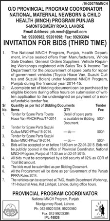 National Maternal Newborn and Child Health MNCH Program, Lahore - Invitation For Bids