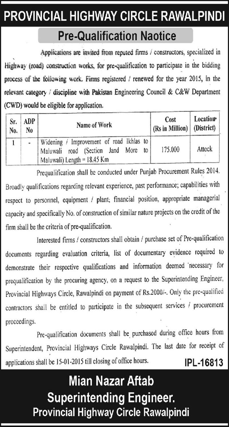 Provincial Highway Circle, Rawalpindi - Pre-Qualification Notice For Improvement of Roads