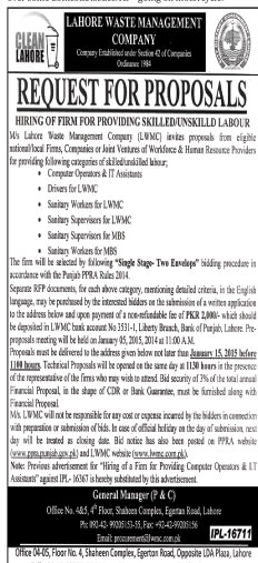 Lahore Waste Management Company, Lahore - Request For Proposal
