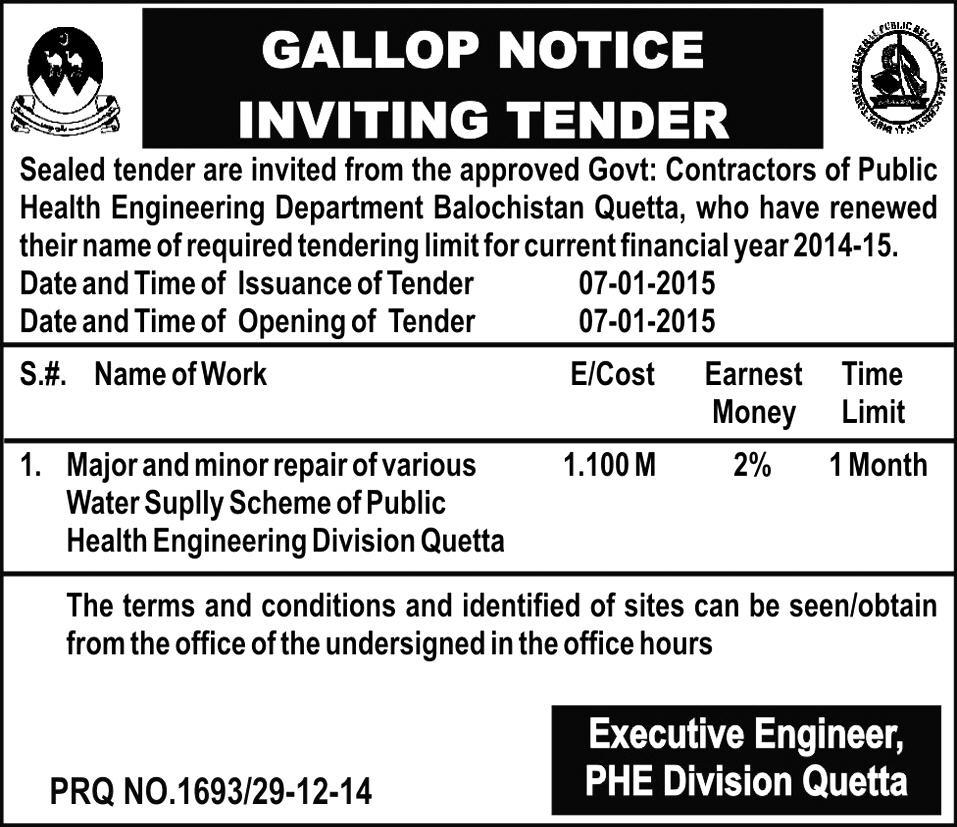 Gallop Tender Notice - Executive Engineer PHE Division Quetta