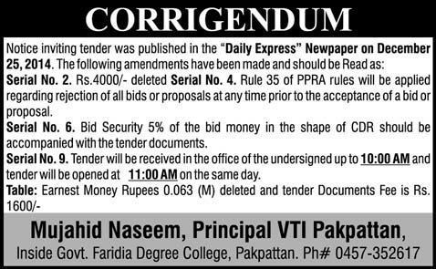 Corrigendum Notice - Mujahid Naseem Principal VTI Pakpattan