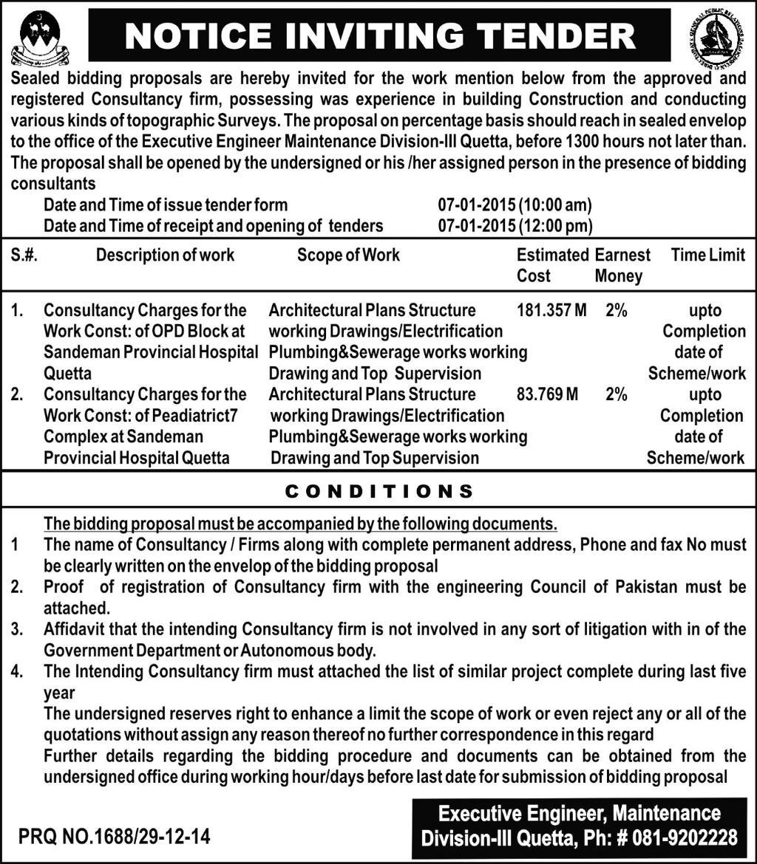 Tender Notice - Executive Engineer Maintenance Division Quetta