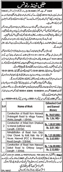 Tender Notice - District Tender Board Narowal