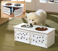Sell Dog/Cat Raised Pet Feeder Bowls With Storage Cabinet
