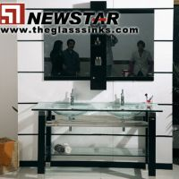 Sell  Glass vanity with wooden pedestal-Newstar(China) Industrial Company Limited
