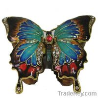 Sell Swallowtail Butterfly Enamel Trinket Box - Blue-DongYang Hui Xin Crafts Factory