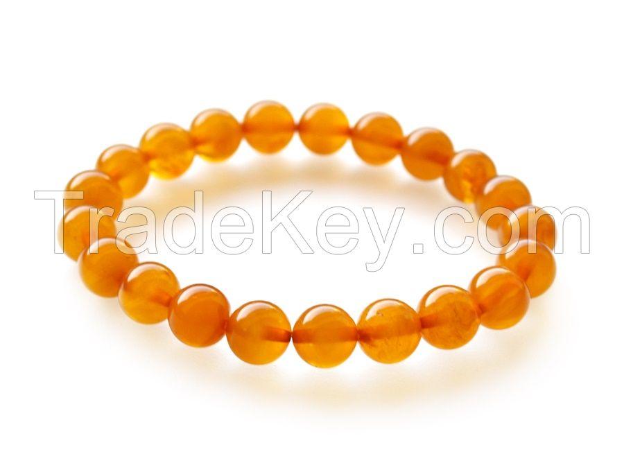 Baltic amber round balls bracelet 9 mm 4538