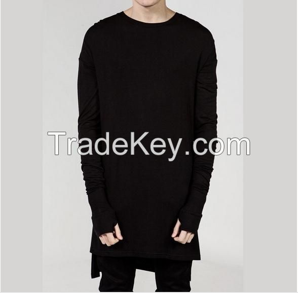 Extend Hip Hop Men High Low Side Thumb Hole Split TShirt Long Sleeve Tyga Swag Man T-Shirt Crew Neck Clothes latest men t shirt