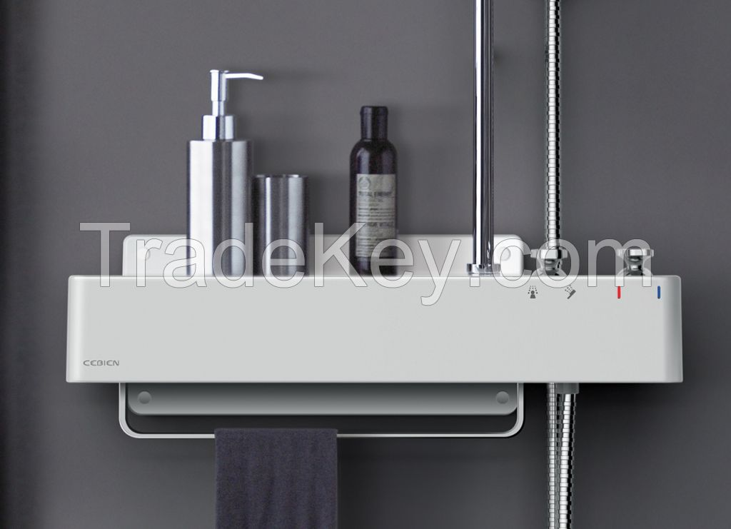 cebien shower set mixer shower system with rain shower head u0026 hand shower and wallmounted shelf