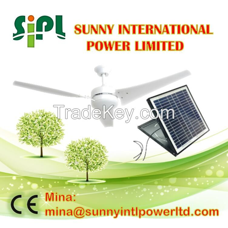 60 inch 30 watt solar panel powered system air conditioning ventilation cooling ceiling fan