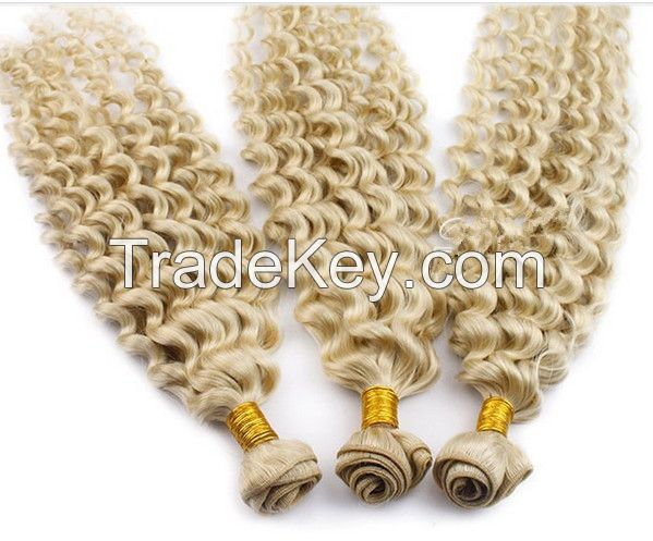 Blonde human hair weft kinky curly afro