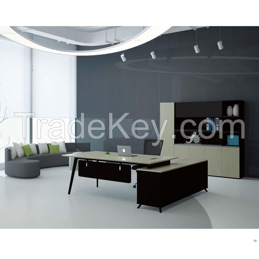 JA Office desk with side returned L shape  metal frame support