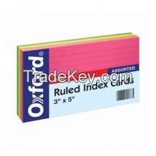 """1000 Packs Oxford Ruled Index Cards, 3"""" x 5"""" , Assorted Glow Colors, 300 Sheets per Pack"""