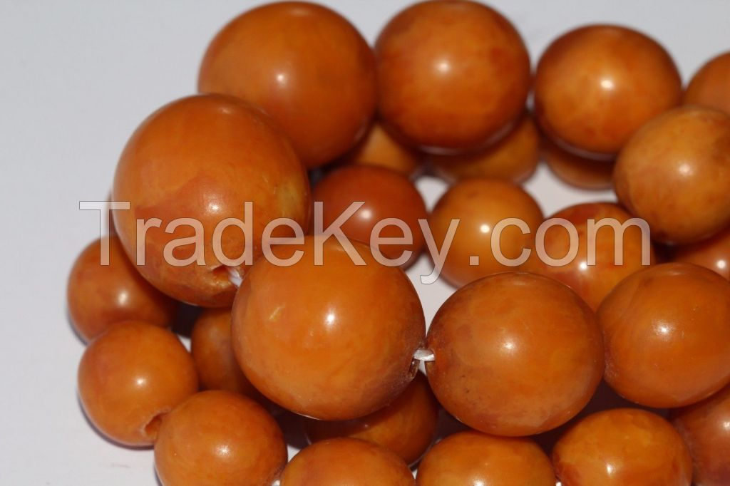 Natural Baltic Amber Necklace Beads Antique Pressed 38.29 gr. KOENIGSBERG
