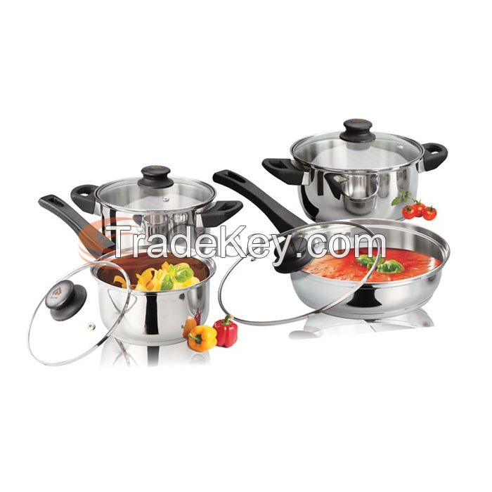 8 Pcs Stainless Steel Induction Bottom Cookware Set with Glass Lids and Bakelite Handles