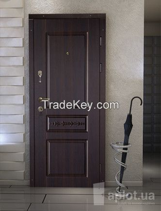 Metal exterior doors, decorated with MDF and ceramic plates