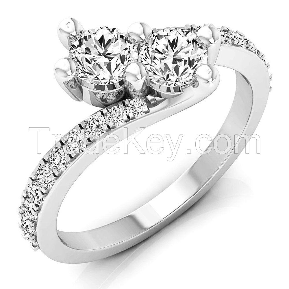 Elora 14k Gold 1ct TDW Diamond 2-stone Bypass Style Ring (I-J, I2-I3)