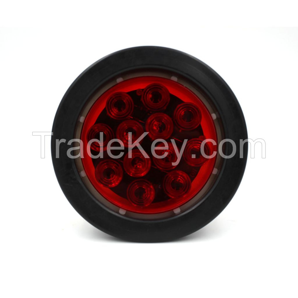 """LED 4"""" Sealed Round Stop, Turn, Tail Light With Grommet and Plug -  Red"""