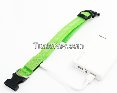 Rechargeable Eco-friendly LED Night safety warning dog collar with USB