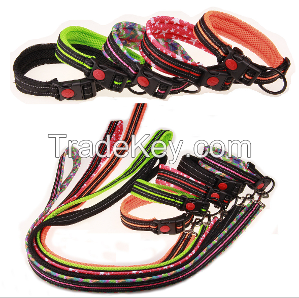 Adjustable Lock switch durable dog collar and dog leash nylon PU leather
