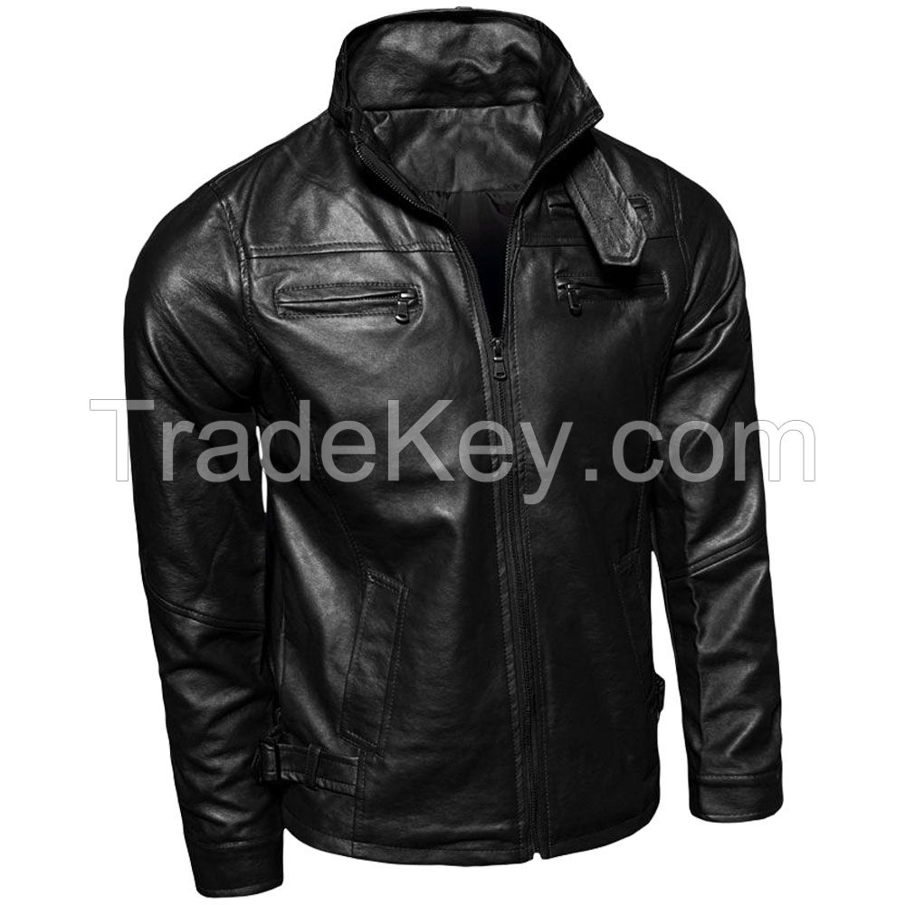 LEATHER MEN FASHION JACKET KMX-0087