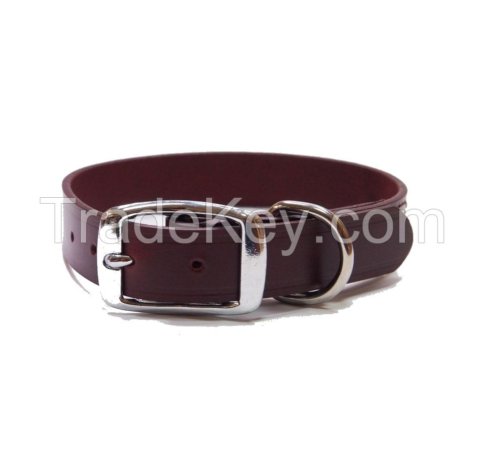 Rolled Leather Dog Collar, Martingale Dog Collar