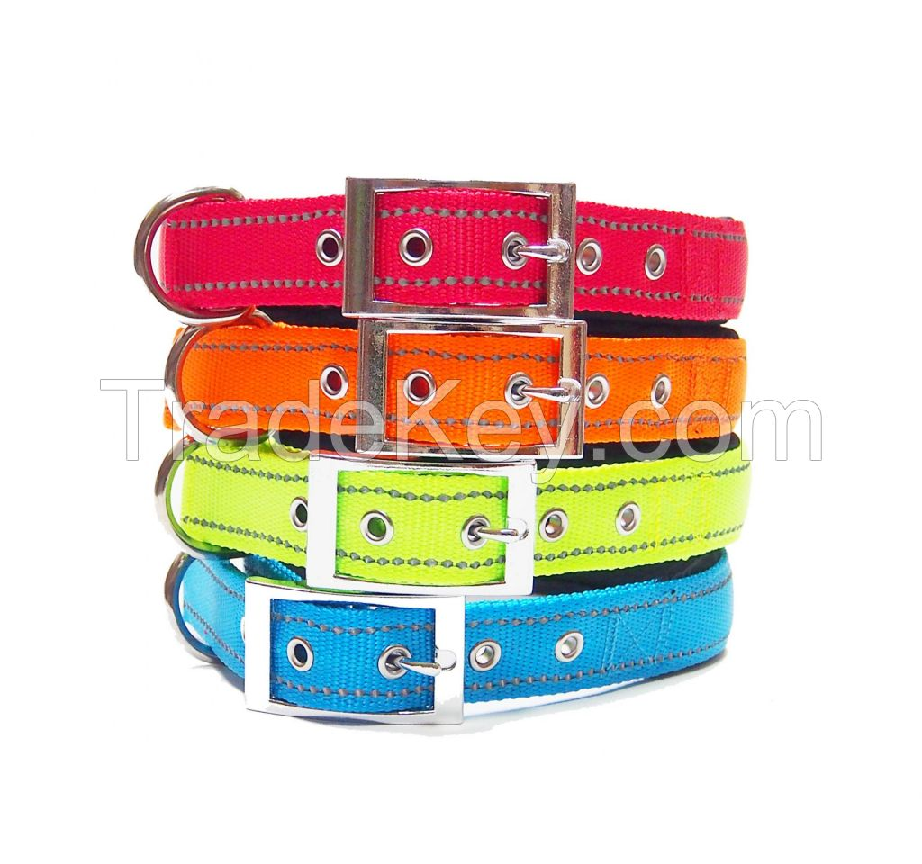 Reflective Dog Collars, Rolled Leather Dog Collar