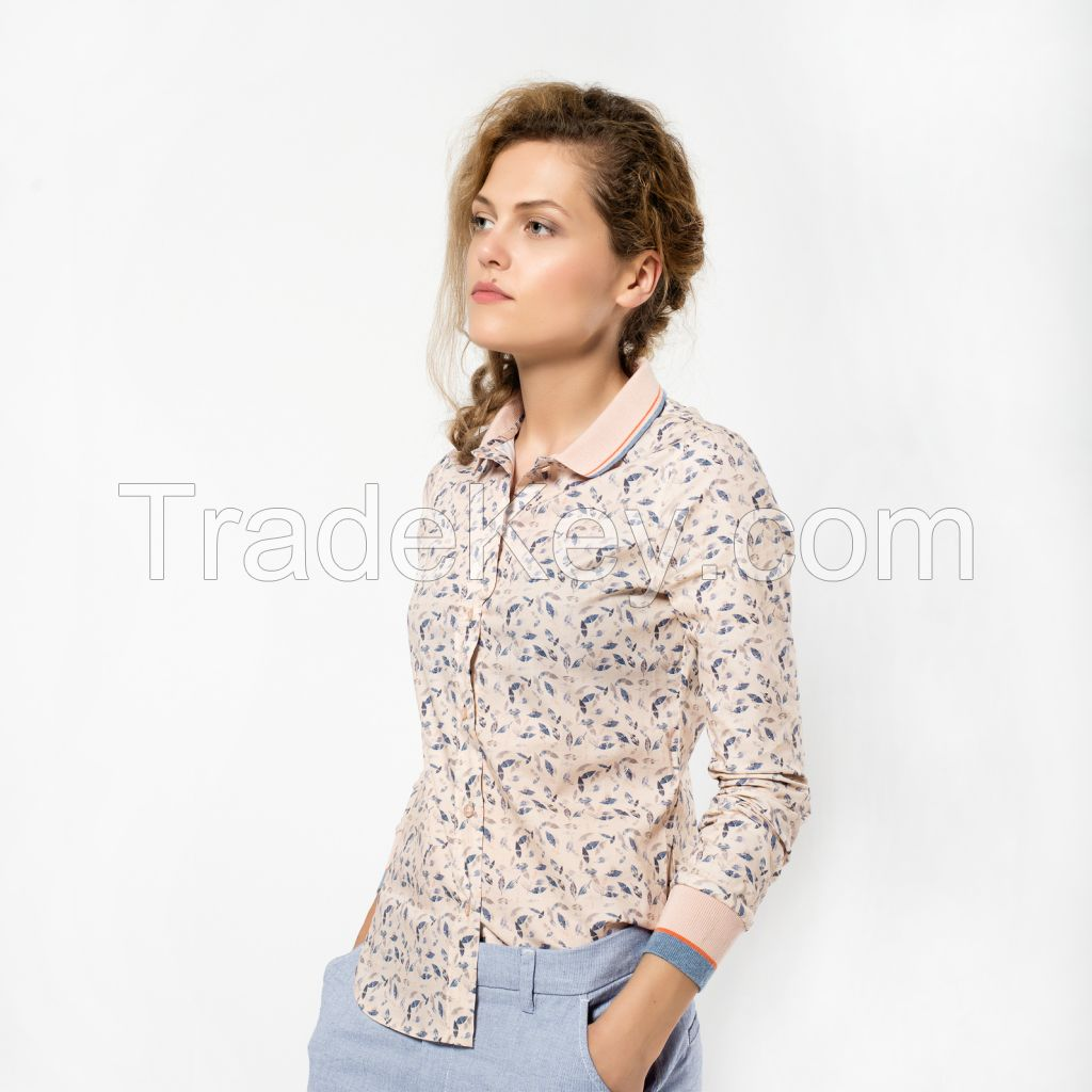 Cotton Blouse Made in EUROPE, NEW style with knitted cuffs! Beige/Pink with Print