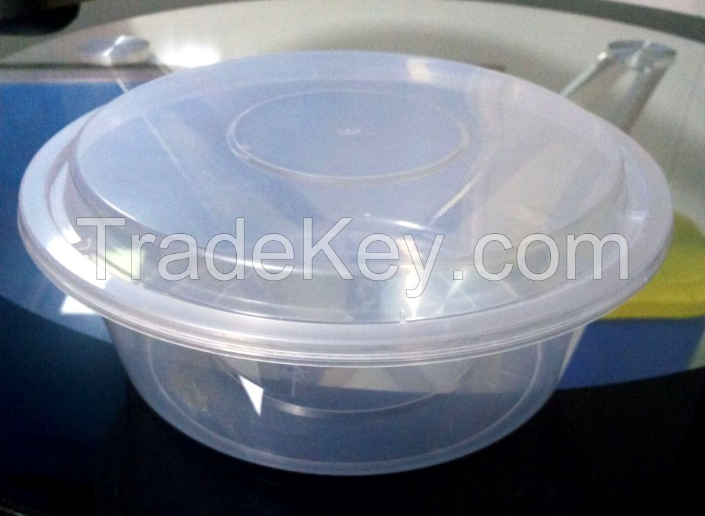 Disposable transparent pp round fastfood box with cove plastic mould