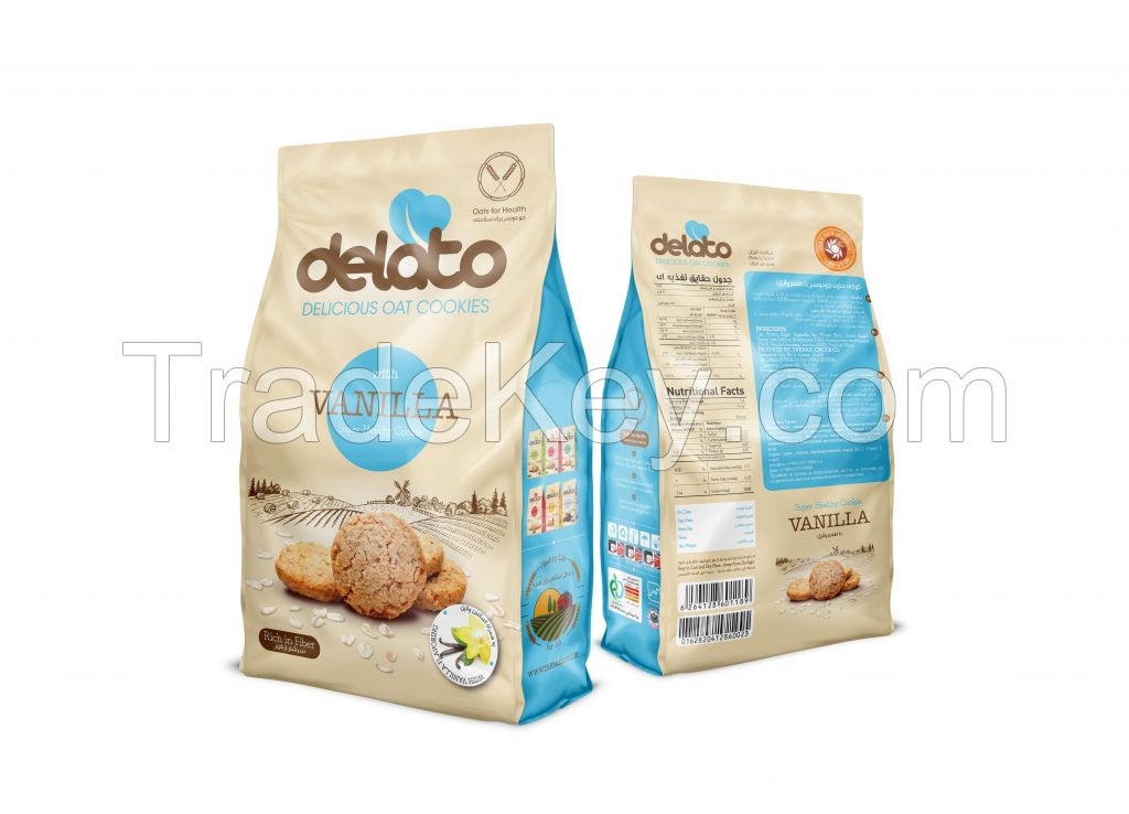 Delato Oat Cookies with Brown sugar 150 gr - with Vanilla  flavors