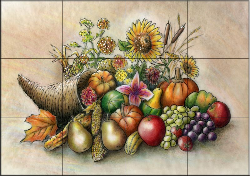 Cornucopia Tile Mural   Decorative Tile For Kitchen U0026 Bath