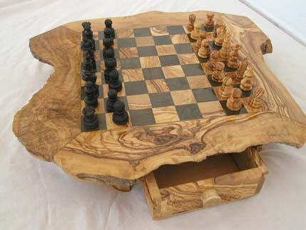 Olive Wood Chess Board By Intercraft Tunisia