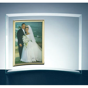 "5"" x 7"" Beveled Glass Vertical Crescent Photo Frame"