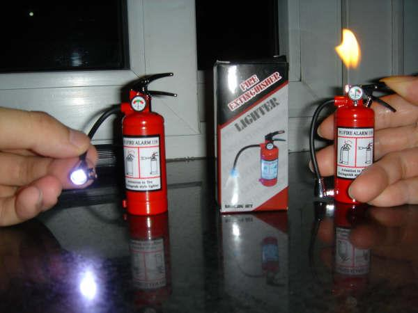 fire extinguisher lighter with mini flashlight