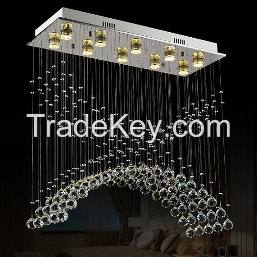 Square Elegant Clear Crystal Lighting Luxury Crystal LED Chandelier for Home Decorative 8030-10