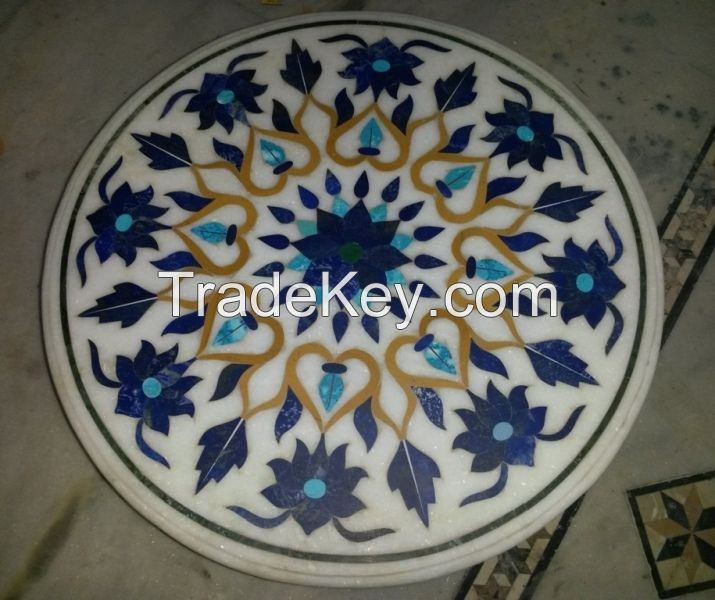 Indian Stone Inlay Marble Inlay Table Top, Medallions Borders Table Tops