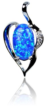 Sterling Silver Synthetic Opal Jewelry - Pendant