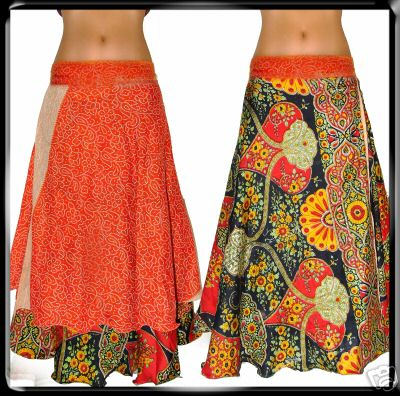 Silk  Reversible two layer Sari wrap around Skirt