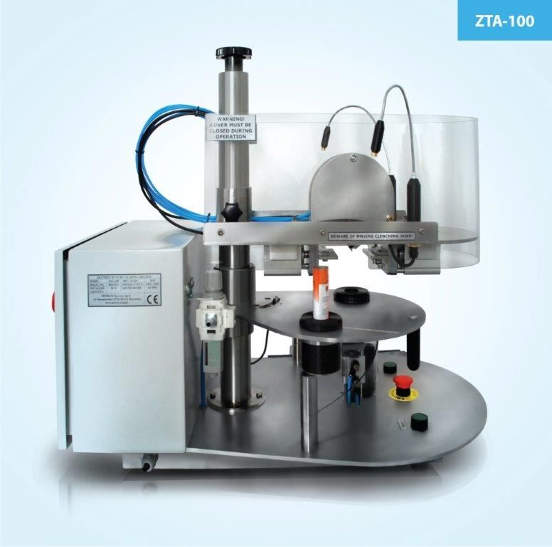 Semi-automatic machine closing aluminum tubes, ZTA-100