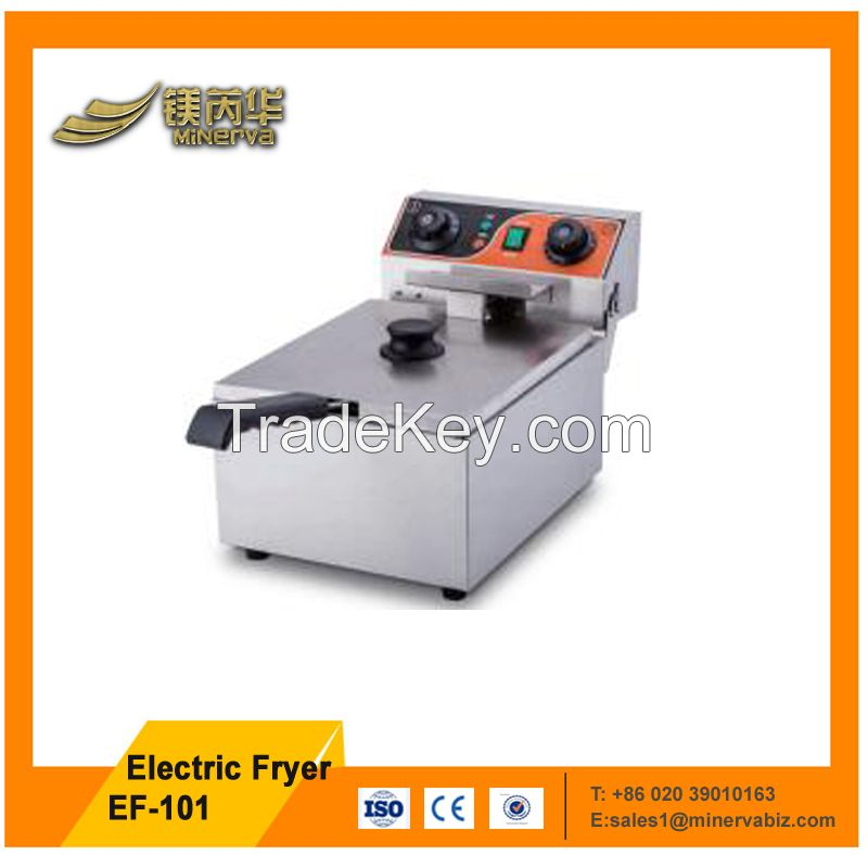 stainless steel single tank commercial kitchen equipment deep fryer with timer