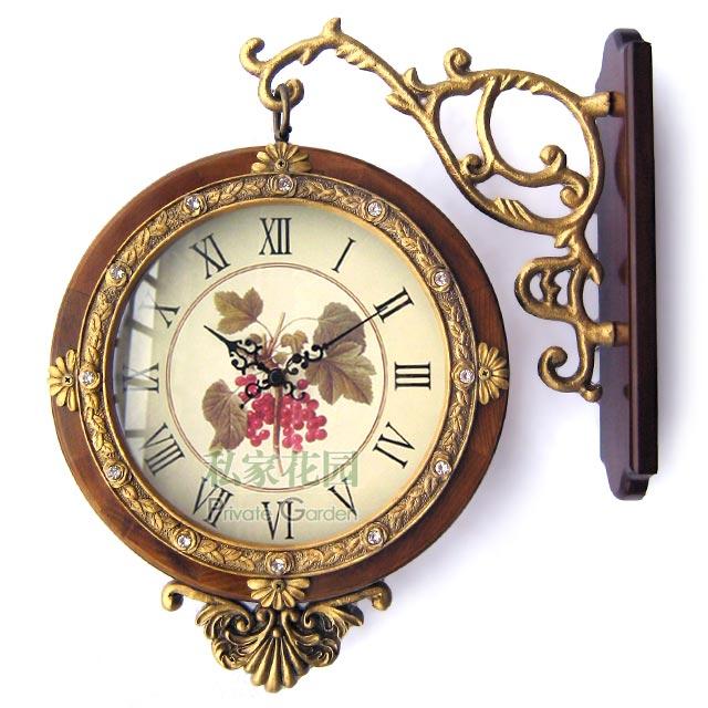 wooden clock garden clock doublesided clock antique clock wall clock