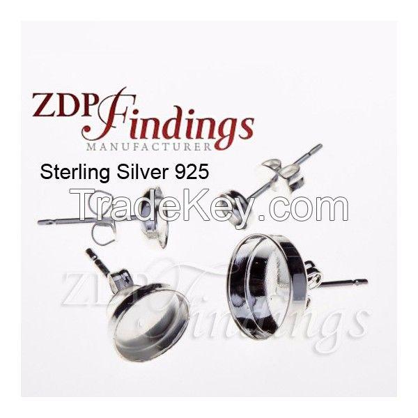 6106  Round Bezel on Post Earring 925 Sterling Silver
