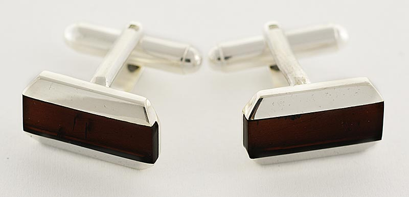 AMBER AND SILVER CUFFLINKS